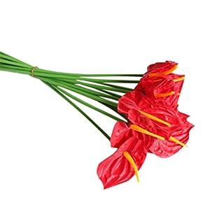 20Pcs Artificial Anthurium Flowers Real Touch Fake Flower for Home Decor Floral Arrangements Bouquets (Red)