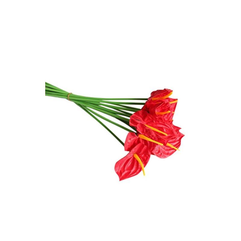silk flower arrangements 20pcs artificial anthurium flowers real touch fake flower for home decor floral arrangements bouquets (red)