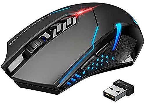 PONVIT Mouse Gaming Wireless Mouse da Gioco Silenzioso, 7 Pulsanti Tranquilli, per...