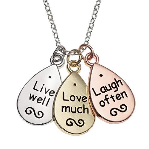 Collana con ciondolo con scritta motivazionale, in argento, oro, oro rosa, motivo: Live Love Laugh, tre dischi, da donna, lunghezza catenina in argento 40,64 cm, da BellaMira