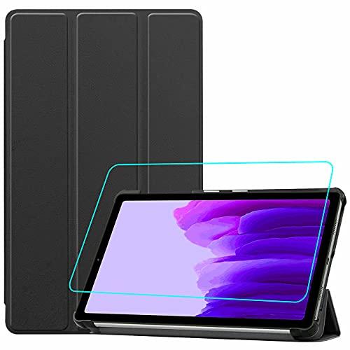 Brifu - Funda protectora para Samsung Galaxy A7 Lite (SM-T220/SM-T225) (8,7 pulgadas), ultrafina, de piel sintética, con función de planchado, color negro + 1 protector de pantalla de cristal templado