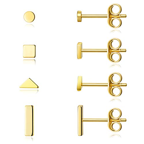 Sterling Silver Stud Earrings for Women Men- 4 Pairs of Hypoallergenic Simple Geometric Small Stud Earring Set Tiny Circle Triangle Square Bar Stud Earrings Mini Cartilage Tragus Earrings