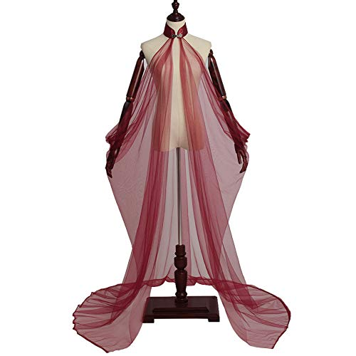 GRACEART Donna Mantello Nozze Mantellina Abito da Sposa Elfo Costume Medievale Elven Queen Princess Collared Mantak (M (Dimensione del Colletto:38cm), Rosso)