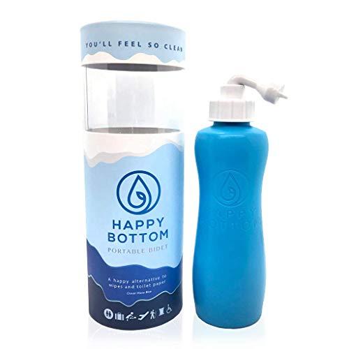 Happy Bottom Portable Bidet   Leak Free Handheld Travel Bidet and Peri Bottle with Angled Nozzle Sprayer   400 ml Capacity   With Travel Bag