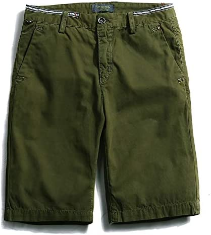 JiuRui Leisure Shorts Men Cargo Shorts Casual Short Trousers Blue Orange Army Green Khaki Color Size 28-38 (Color : Grass Green, Size : 38)