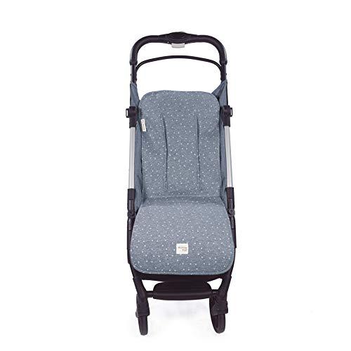 Walking Mum. Colchoneta para silla de paseo Dreamer. Forro para silla de paseo anti-sudoración para el verano. Tejido en Punto. Uso universal. Color Azul. Medidas 35 x 84 cm.