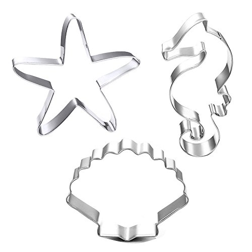 Winrase Set of 3 DIY Stainless Steel Starfish Hippocampus Shell Shape Cookie Cutter Fondant Cutter