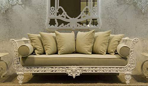 Casa Padrino sofá Barroco de Lujo Blanco/Verde Claro 212 x 87 x A. 77 cm - Sofá de Hierro Forjado Forjado a Mano con Cojines - Sofá de Salón - Sofá de Jardín - Sofá de Patio - Muebles Barrocos
