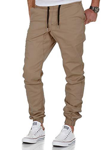 Amaci&Sons Herren Stretch Jogger Basic Chino Jeans Hose Cargo 7002 Beige W32