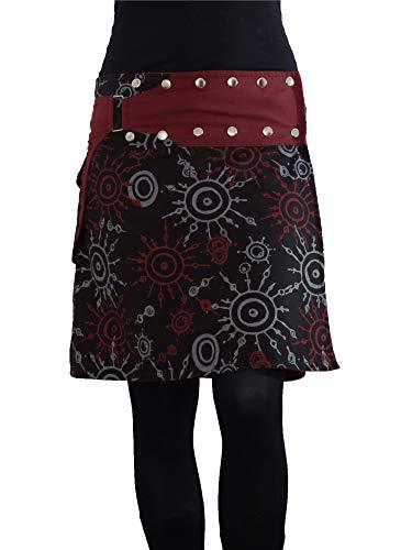 PUREWONDER Damen Wickelrock Baumwolle Rock mit Tasche sk174 Schwarz Einheitsgröße verstellbar