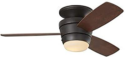Harbor Breeze Mazon 44-Inch Bronze Flush Mount Indoor Ceiling Fan with Light Kit and
