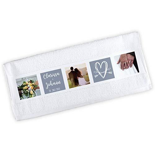 Herz & Heim® Handtuch mit eigenen Fotos Bedruckt für Liebende zum Valentinstag oder Hochzeit
