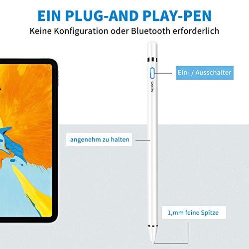 MEKO Eingabestift, Active Stylus Pen mit Palm Ablehnung für iPad Pro 11/12,9 Zoll/iPad 6/7 / Air 3. Generation/Mini 5. Generation(Weiß