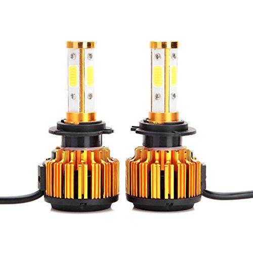 Crdz H7 LED Ampoules de phare 8000lm 60 W Blanc Froid 6000 K faciles à faible Faisceau/haute Faisceau/ampoule de brouillard à 360 ° 4 Côté COB Chips Super Bright Auto Kit de conversion