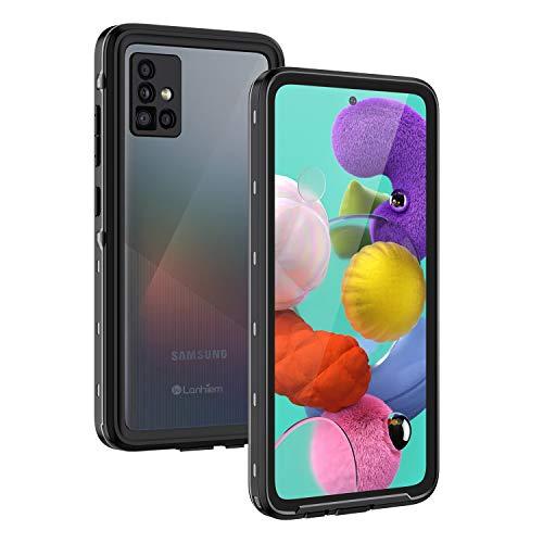 Lanhiem für Samsung Galaxy A51 Hülle, IP68 Wasserdicht Handyhülle Samsung A51 360 Grad Schutzhülle, Stoßfest Staubdicht Schneefest Outdoor Panzerhülle mit Eingebautem Displayschutz, Schwarz