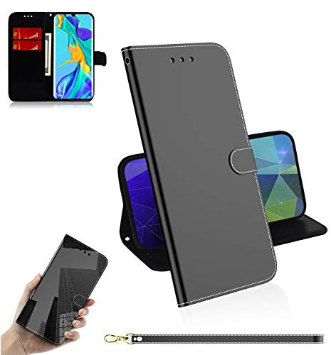 Guran Cover for Huawei P30 Pro Smartphone Premium PU Mirror Leather Wallet Flip Protective Case Stand Function Magnetic Closure Card Holders Case - Black