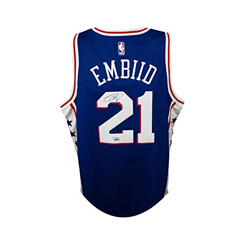 Joel Embiid Autographed Philadelphia 76ers Blue Nike Basketball Jersey - Fanatics