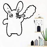 wZUN Creative Rabbit Wandtattoo Wohnzimmer Bewegliches Wandbild Wohnzimmer Schlafzimmer Wandaufkleber Wandbild 36x37cm