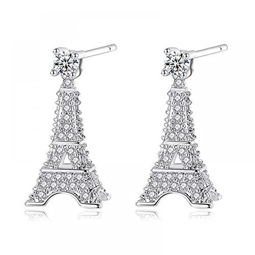 wangbadan Pendientes Pendientes de Mujer Torre Eiffel Pendientes de circón con Incrustaciones Personalidad Creativa Joyería Boutique
