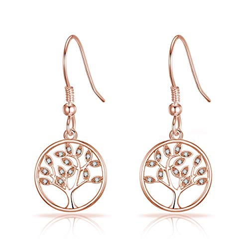 Rose Gold Tree of Life Drop Earrings Created With Austrian Crystals