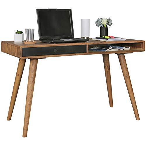 FineBuy Schreibtisch schwarz 120 x 60 x 75 cm Massiv Holz Laptoptisch Sheesham Natur | Landhaus-Stil Arbeitstisch mit 1 Schublade | Bürotisch PC-Tisch