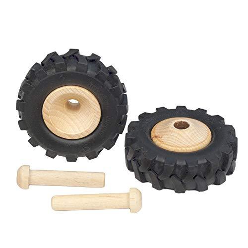 FEINSCHNITTkreativ Traktor-Reifen für Modellbau, 2 Stück, inkl. Achsdübel 8 x 41 mm (60 mm)