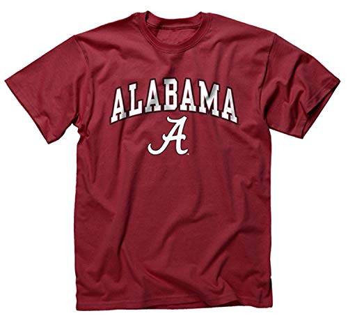 Campus Colors NCAA Adult Arch & Logo Soft Style Gameday T-Shirt (Alabama Crimson Tide - Crimson, Large)