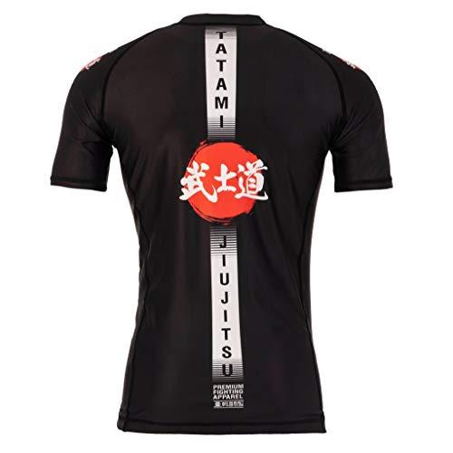 Tatami Fightwear Camiseta de manga corta Rashguard Bushido para hombre, para Jiu Jitsu, fitness, Grappling, MMA, Hombre, bush-blk-ss-rash, Negro , large