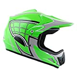 WOW Youth Kids Motocross BMX MX ATV Dirt Bike Helmet Spider Web Green