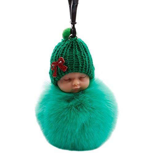litong Llavero de felpa para muñeca de bebé, juguete para muñecas de bebé, para mujer, bolsa de juguete, llavero esponjoso con pompón esponjoso de piel sintética (color: verde 1)