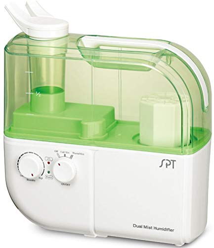 SPT SU-4010G Dual Mist Humidifier with ION Exchange Filter, Green, Dual function: Warm and Cool mist, Ultrasonic generator, Humidity output 400cc/hour, Designed for rooms up to 500 sq. ft.
