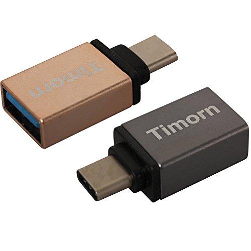 Timorn Hoch -Geschwindigkeit Aluminium Typ C 3.1 USB 3.0 Buchse Adapter mit OTG und Datenübertragung für Apple 12-Zoll-Retina MacBook, Google Chromebook Pixel, ZUK Z1, Mi 4C Nokia N1, Google Nexus5x Nexus6P, Microsoft Lumia950 Lumia950XL usw. (2 Stück Gold + Eisengrau)