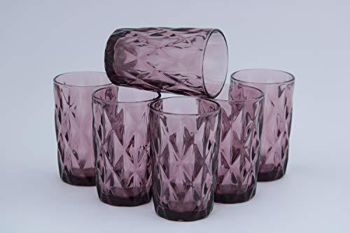 Homevibes Juego Set de 6 Vasos De Agua Con Relieve, Color Purpura,...