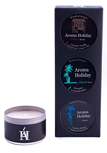 Aroma Reise Urlaub Luxus Duft Kerze Geschenk-Set (Sweet) – Rio, Kingston & Hawaii