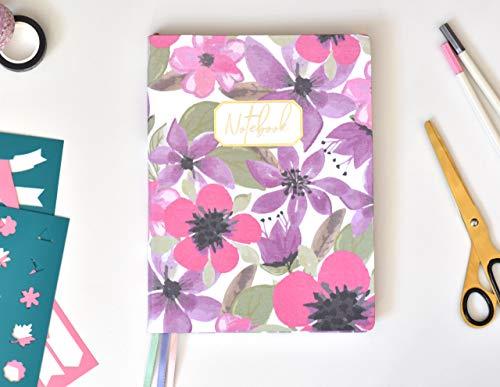 Bullet Journal XL/Cuaderno Punteados - Plantillas De Regalo - Tamaño 19x25cm- Tapa Flexible De Tela - Papel Premium 120gr (April)