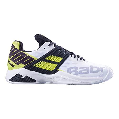 BABOLAT Propulse Fury Clay Men, Zapatillas de Tenis Hombre, White/Fluo Aero, 40.5 EU
