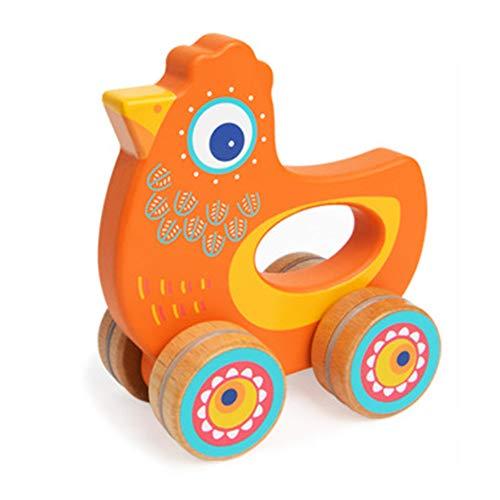 NBLYW Trolley pour Enfants créatifs, Animal en Bois saisissant Un Jouet de Simulation, Jouet à Tirer 0-2 Ans Enfant en Bas âge garçon et Fille,Orange