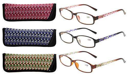 Eyekepper 3er Pack Damen-Lesebrille mit schönem Muster und Softtasche für Damen +0.50