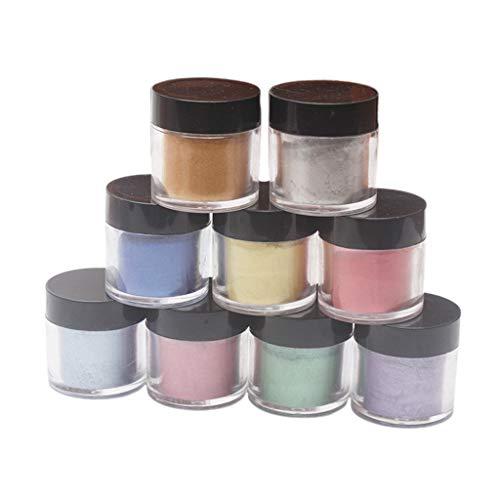 Siwetg 9-delige set parelglimmer pigment parelmoer poeder UV hars kristal epoxy handwerk DIY sieraden slijm toning kleur highlight glitter