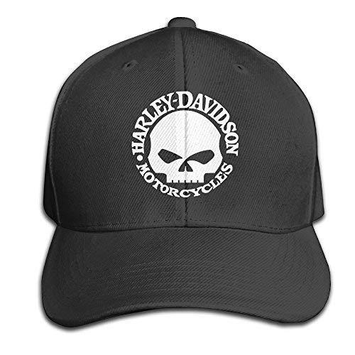 Tboylo Harley Davidson Skull Men and Women Black Adjustable Cotton Baseball Cap Snapback Hat