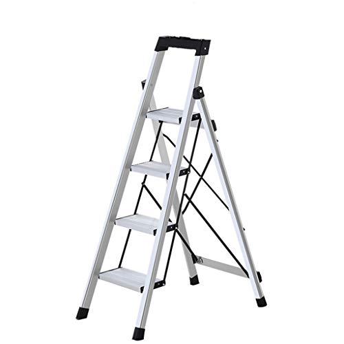 Casa Escalera de ingeniería antideslizante, espesar cuatro escaleras de aleación de aluminio escalera - con pasamanos y bandeja de herramientas 8 banda de rodadura Engrosado (Size : 43 * 75 * 122cm)