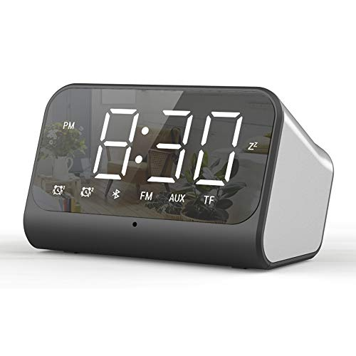 Digital Alarm Clock Radio with Bluetooth Speak ,Dual Alarms Clock ,FM Radio,Dimmable LED Display ,USB Ports Charging ,Speakerphone, Bedside Alarm Clock for Bedroom ,Perfect for Seniors Teens Kids
