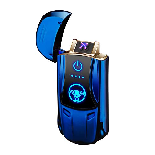 Dual Arc Lighter USB Double Arc Lighter Rechargeable Flameless Windproof Electronic Plasma Mini Portable Lighters No Gas Good for Cigar Candle Cigarette Pipes (Blue USB Arc Lighter)