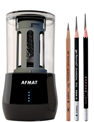 AFMAT, sacapuntas de lápiz de punta larga, sacapuntas de lápices de dibujo, sacapuntas eléctrico, 6-8,5 mm de carbón de leña para lápices de dibujo, 25 mm de punta súper larga