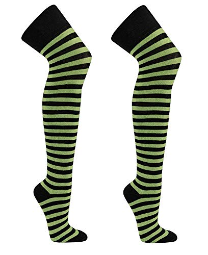 krautwear® Damen Gestreifte Overknees Strümpfe 2 Paar Ringelstrümpfe Karneval Fasching OEKO-TEX Standard 100 (2x schwarz-grün)