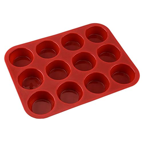 PETUNIA Round Silicone Muffin Pan Silicone Cupcake Baking Cups Mold 12 Non Stick Silicone Molds for Muffin Tins Red