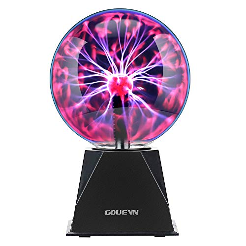 Gouevn Plasma Ball Lamp 6 Inch Magic Plasma Globe - Touch & Sound Sensitive Interactive Plasma Lamp Nebula Sphere Globe with Adapter, Science Educational Gift for Decorations/Parties/Bedroom