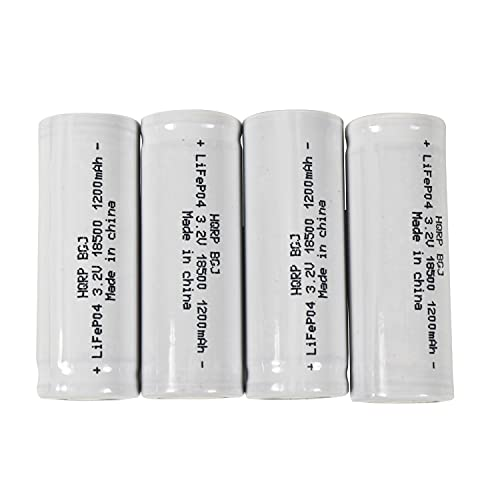 HQRP Battery 4-Pack 1200mAh IFR-18500 18500 3.2v LiFePO4 Lithium Phosphate Compatible with Solar Garden Landscape Patio Light Spotlight Rechargeable with Flat Top