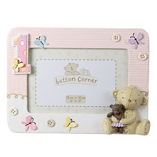 Button Corner WBM-GFT06 Süßer Fotorahmen Teddybär zum 1. Geburtstag - rosa, transparent, 200 g