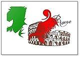 Klassischer Kühlschrankmagnet mit abstrakter Illustration von Rom, Kolosseum & italienischer Flagge